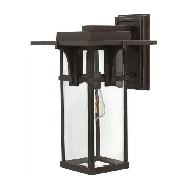 Dark bronze outdoor wall lantern in american art deco styling for Art deco exterior light fixtures
