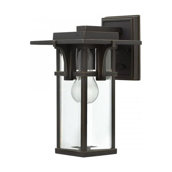 MANHATTAN Bronze Art Deco Style Outdoor Garden Wall Lantern   Small