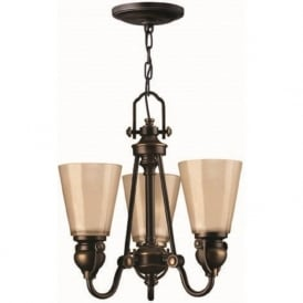 MAYFLOWER traditional 3 light bronze chandelier