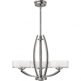 MERIDIAN Art Deco brushed nickel ceiling light with faceted glass shades