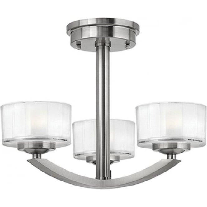 Art deco low ceiling light fitting brushed nickel with