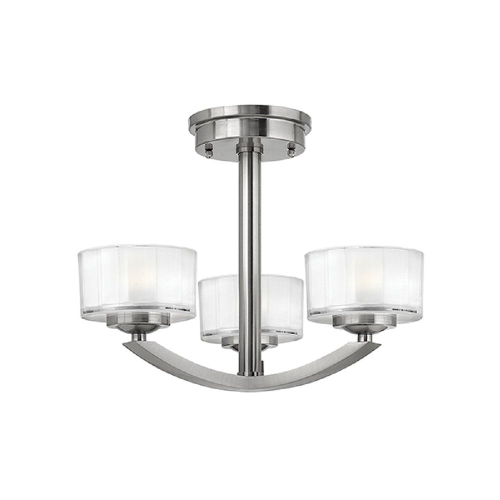 art deco low ceiling light fitting brushed nickel with 3. Black Bedroom Furniture Sets. Home Design Ideas