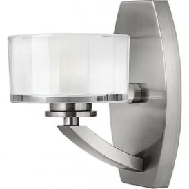MERIDIAN Art Deco brushed nickel wall light with faceted glass shade