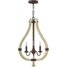 MIDDLEFIELD distressed wood and rustic iron chandelier - 3 lights