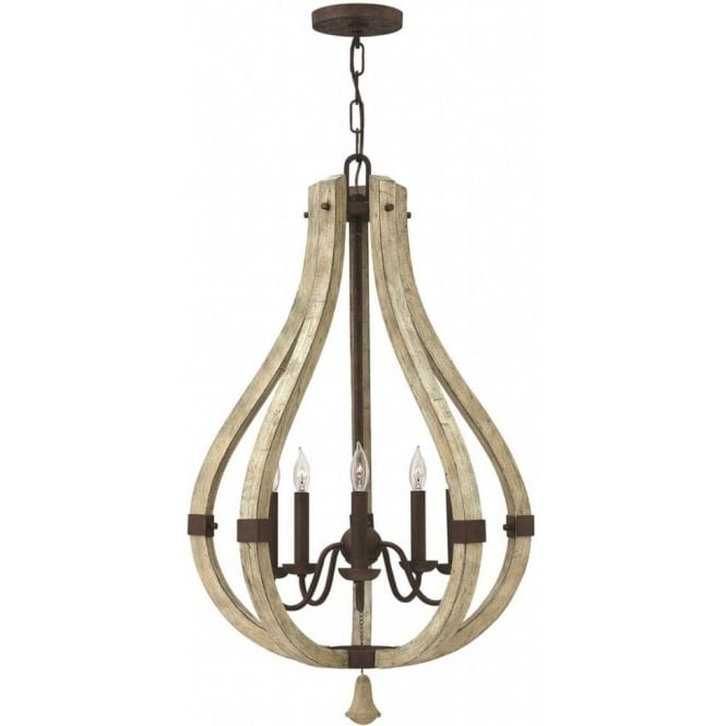 Shabby chic distressed wooden chandelier on rustic iron for American classic lighting