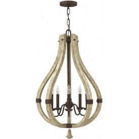 MIDDLEFIELD distressed wood and rustic iron chandelier - 5 lights