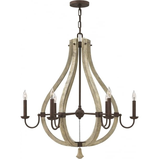 Middlefield Distressed Wood And Rustic Iron Chandelier 6 Lights