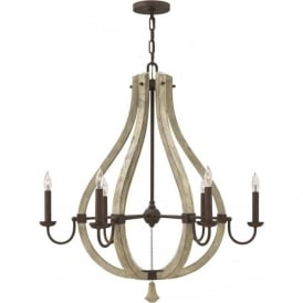 MIDDLEFIELD distressed wood and rustic iron chandelier - 6 lights