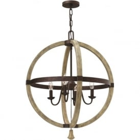 MIDDLEFIELD distressed wood and rustic iron circular chandelier - 4 lights