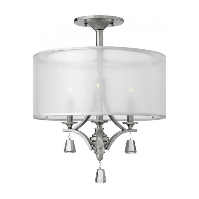 Semi flush fitting low ceiling light with sheer see through shade mime classic style semi flush fitting ceiling light for low ceilings aloadofball Gallery