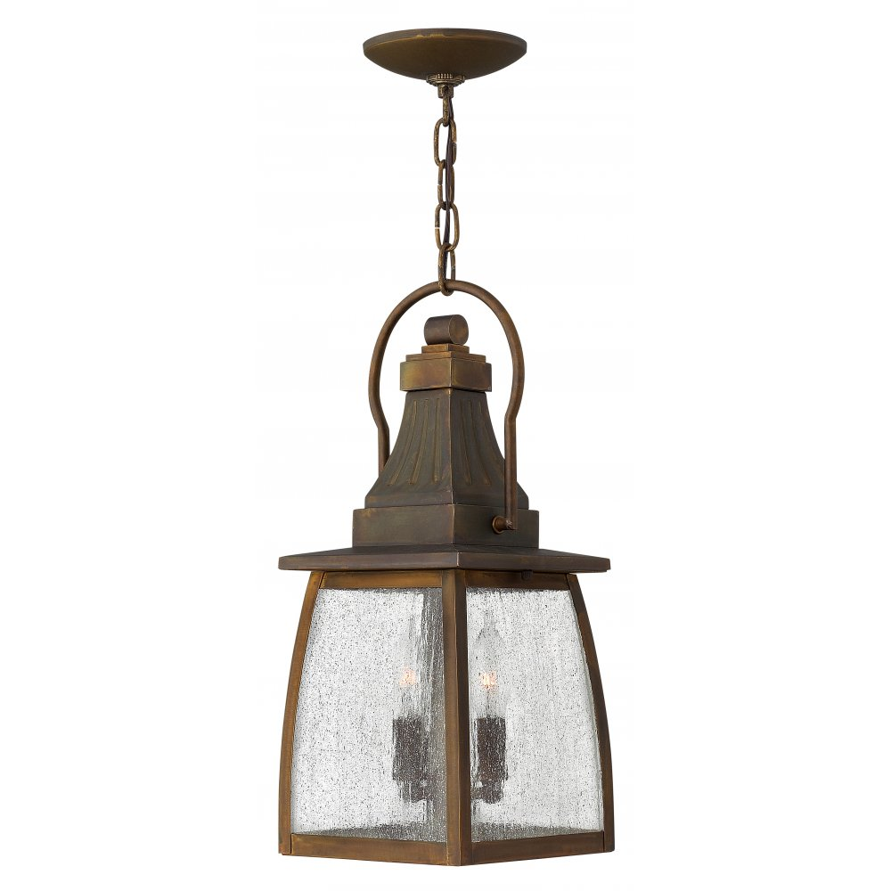 Outdoor Or Porch Hanging Rustic Brass Lantern On Chain