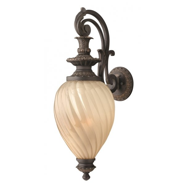 Exterior Regency Style Wall Lantern, Aged Iron Support and Amber Glass