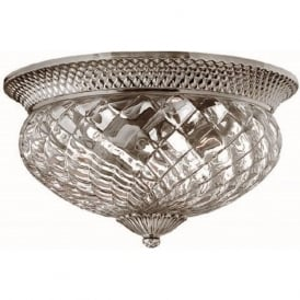 PLANTATION flush ceiling light, traditional antique nickel. large
