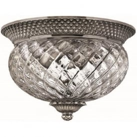 PLANTATION small flush fitting antique nickel low ceiling light