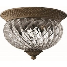 PLANTATION traditional bronze flush low ceiling light, small