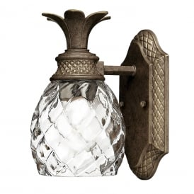 PLANTATION traditional pearl bronze IP44 bathroom wall light in pineapple design