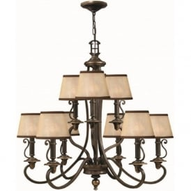PLYMOUTH 9 light old bronze chandelier with shades