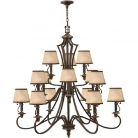 PLYMOUTH large 15 light old bronze chandelier with shades