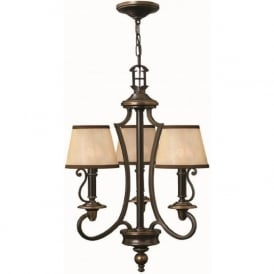 PLYMOUTH traditional 3 light old bronze chandelier with shades