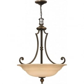 PLYMOUTH traditional bronze uplighter ceiling pendant