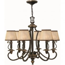 PLYMOUTH traditional old bronze chandelier with shades