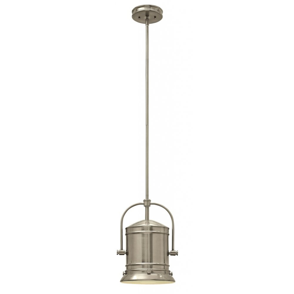 Pendant Light For Sloped Ceilings In Brushed Nickel Theatrical Style