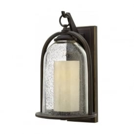 QUINCY rustic style bronze garden wall lantern with bell glass shade