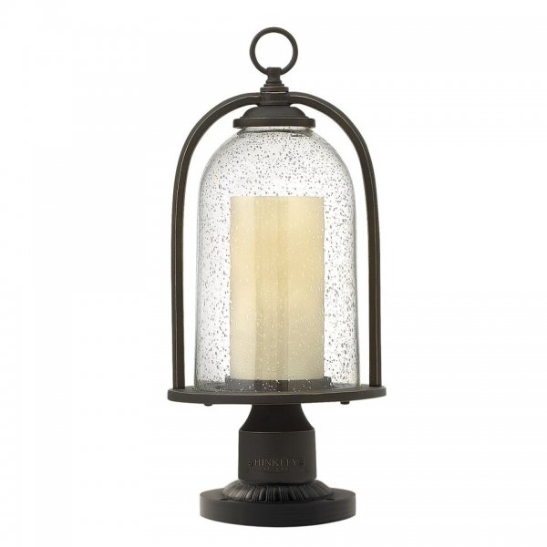 Bell Outdoor Post Lights: Bronze Pedestal Lantern For Using As Gate Post Or Top Of