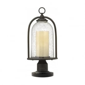 QUINCY rustic style pedestal or gate post lantern with bell glass shade
