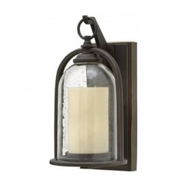 QUINCY rustic style small bronze garden wall lantern with bell glass shade