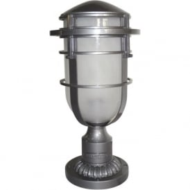 REEF IP44 outdoor gate post or pedestal light - silver haematite finish