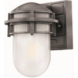 REEF mini nautical style garden wall light, silver grey haematite finish