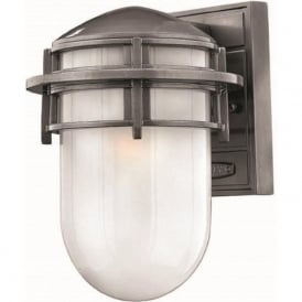 REEF small nautical style garden wall light, haematite silver grey finish