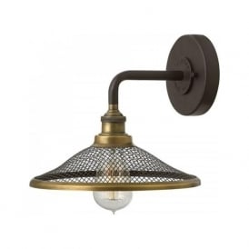 RIGBY industrial style wall light with bronze mesh shade