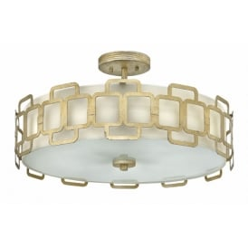 SABINA Deco style dual mount ceiling light in silver leaf finish