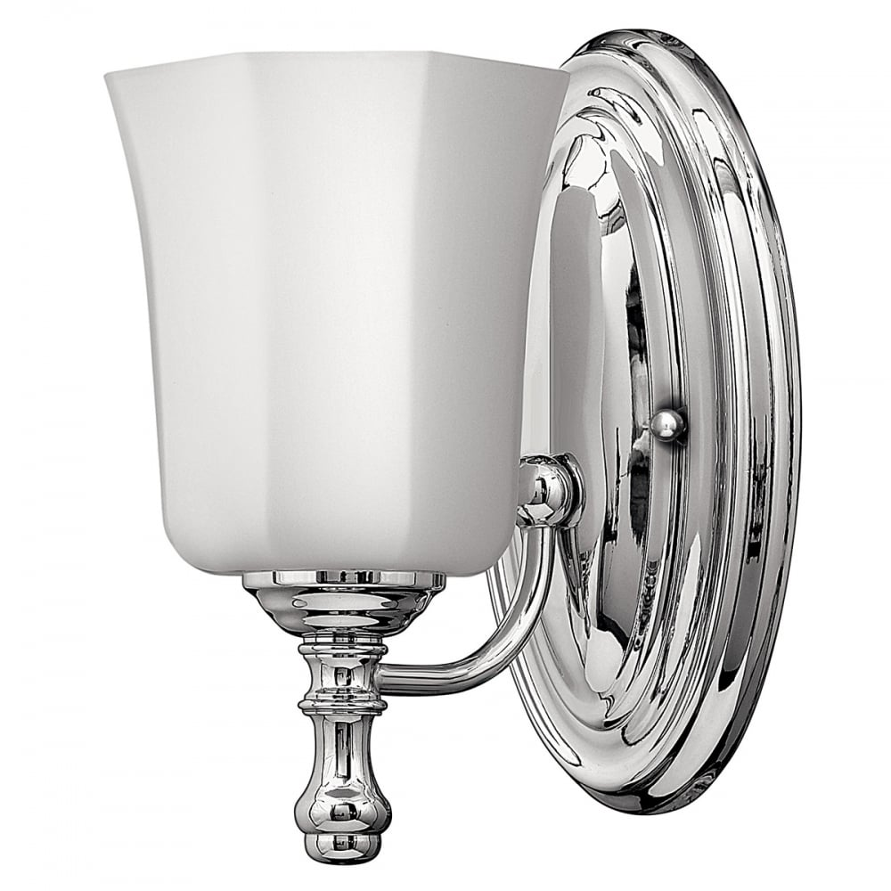 Led ip44 bathroom wall light in chrome with etched opal for Traditional bathroom wall lights