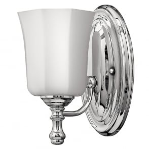 Lincoln American Lighting SHELLY traditional IP44 bathroom wall light in chrome with opal glass shade