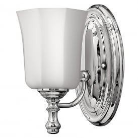 SHELLY traditional IP44 bathroom wall light in chrome with opal glass shade