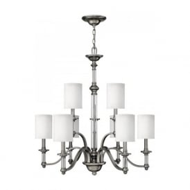 SUSSEX large 2 tier pewter chandelier with 9 white shades