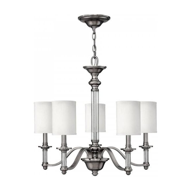 Sus Traditional Pewter 5 Light Chandelier With White Shades