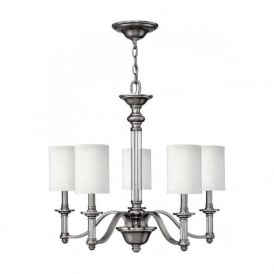 SUSSEX traditional pewter 5 light chandelier with white shades