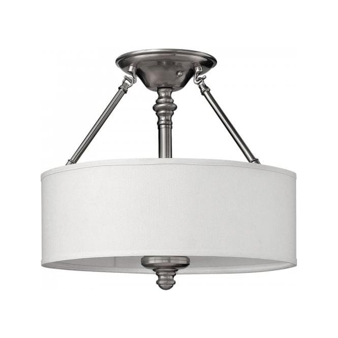 semi flush low ceiling light on pewter frame with white. Black Bedroom Furniture Sets. Home Design Ideas