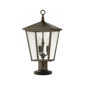 TRELLIS traditional garden pedestal or gate post lantern in Regency bronze