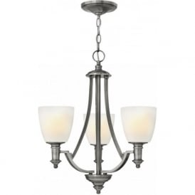 TRUMAN traditional antique nickel 3 light chandelier