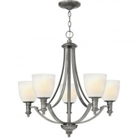 TRUMAN traditional antique nickel 5 light chandelier