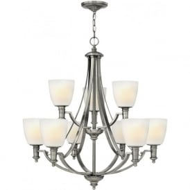 TRUMAN traditional antique nickel 9 light chandelier