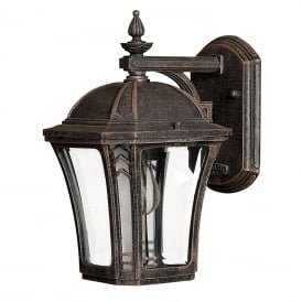 WABASH small traditional garden wall lantern with bevelled glass panels