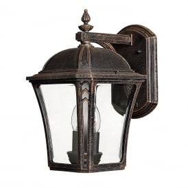 WABASH traditional garden wall lantern with bevelled glass panels - medium