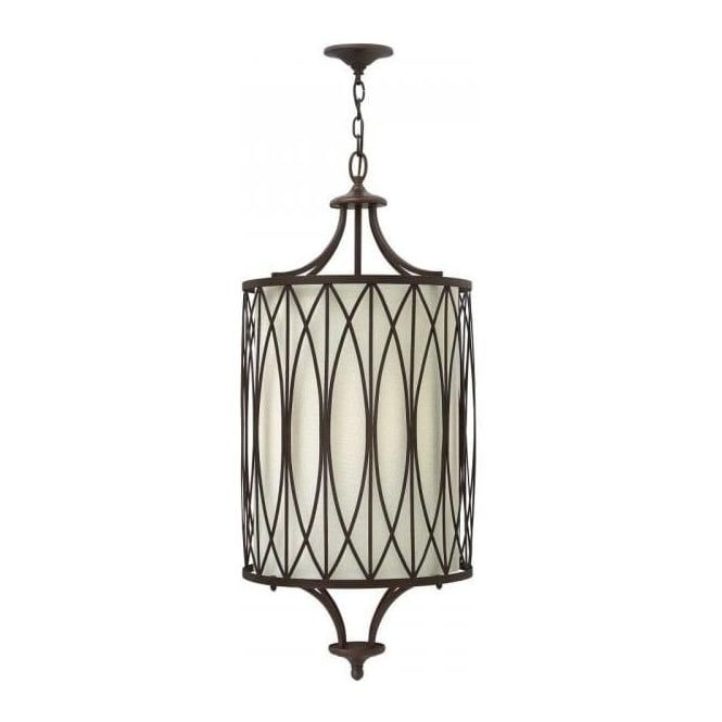 long drop stairwell pendant light dark gothic bronze with white shade