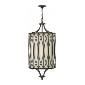 WALDEN long drop hanging ceiling pendant with bronze detailing